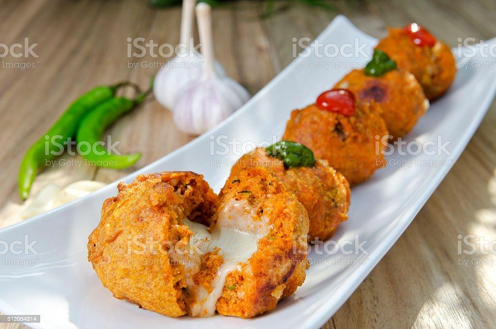 Cheese pakora stock photo