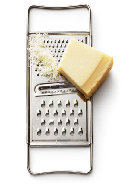 Cheese: Parmesan and Grater Isolated on White Background stock photo