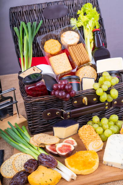 Cheese, Pickle and Crackers Hamper. stock photo