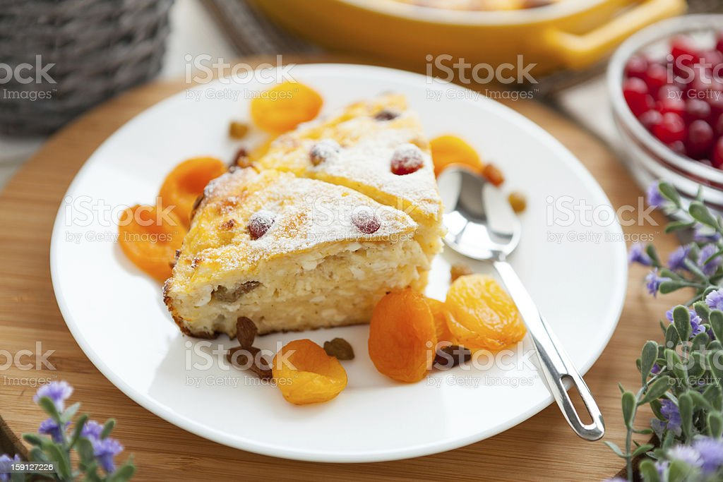 Cheese Pie closeup with dried apricot and raisins royalty-free stock photo