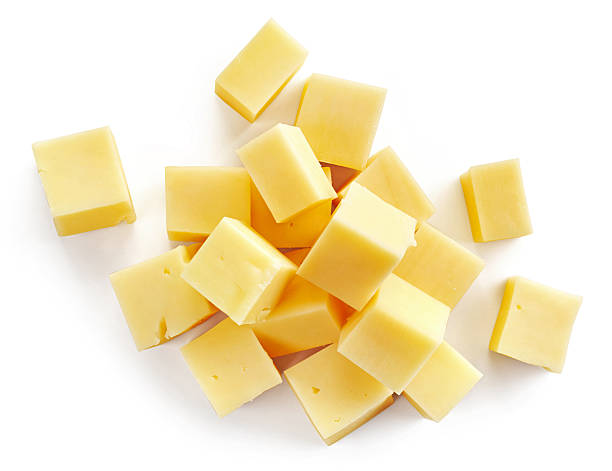 cheese pieces - cube shape stock pictures, royalty-free photos & images