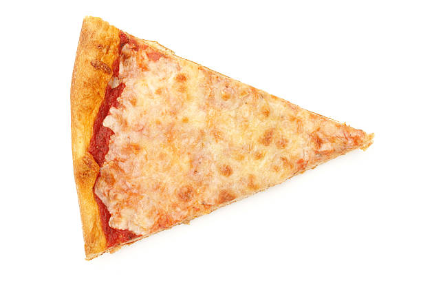 Cheese pizza slice isolated on white stock photo