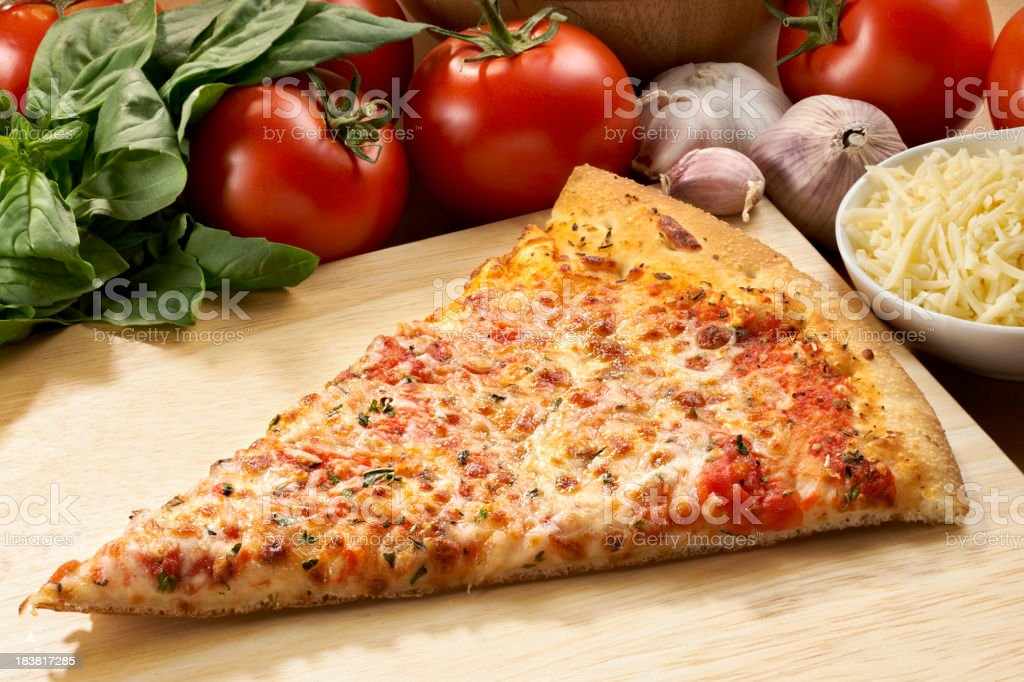 Cheese Pizza Slice with ingredients stock photo