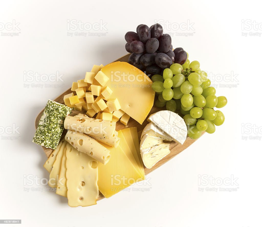 Cheese plate variation isolated white stock photo
