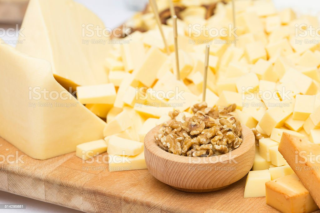 Cheese Plate with Dried Fruit and Honey stock photo