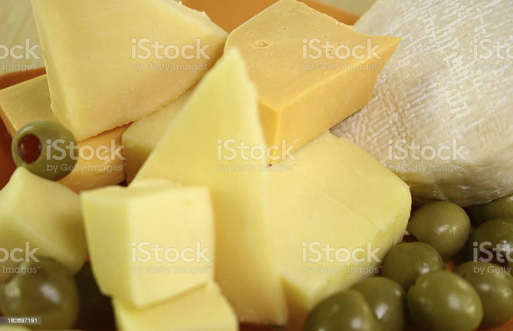 cheese platter and olives - Royalty-free Appetizer Stock Photo
