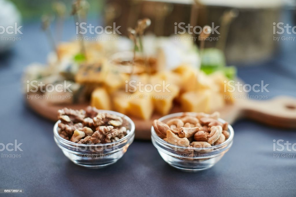 cheese platter, Assorted with nuts and honey stock photo