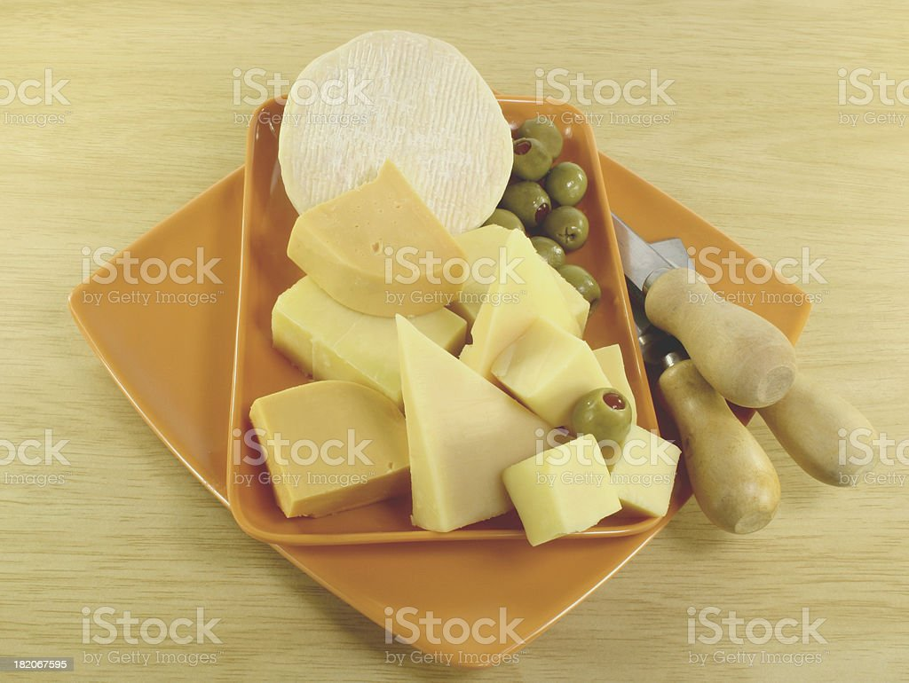 cheese platter with olives royalty-free stock photo