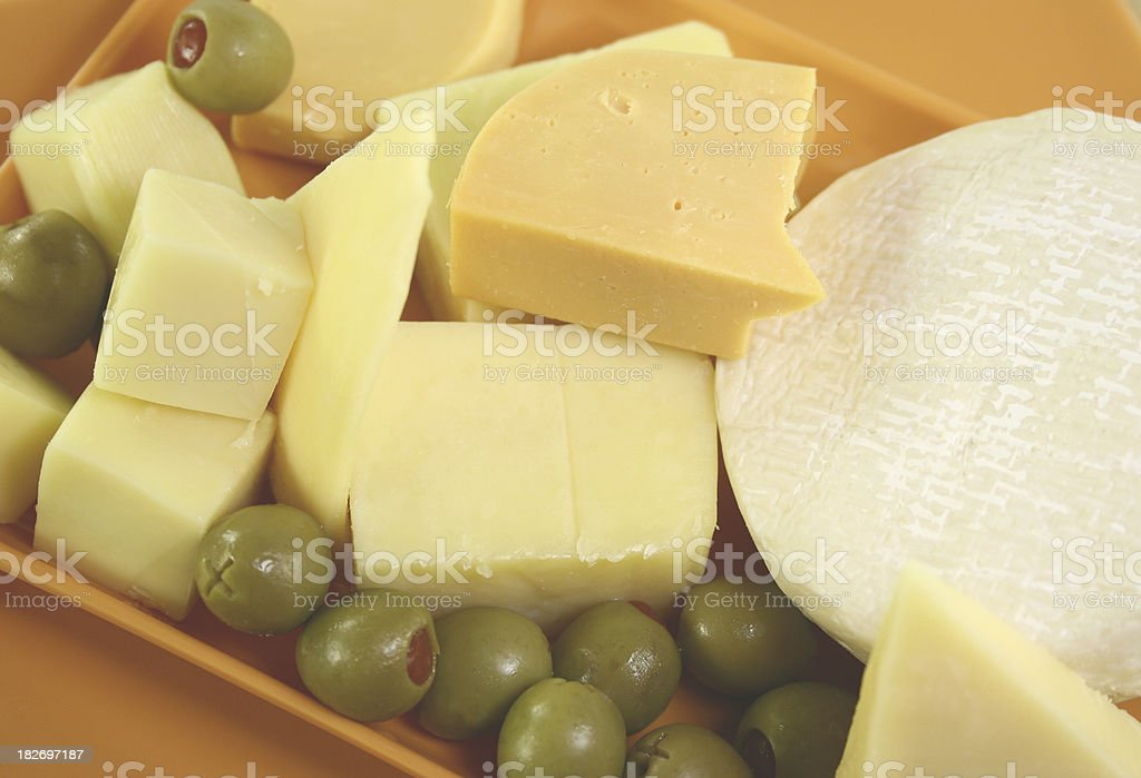 cheese platter with olives - Royalty-free Appetizer Stock Photo
