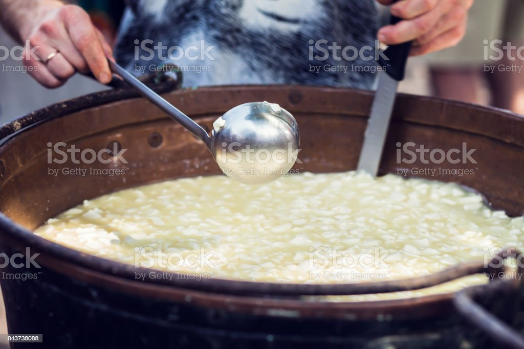 cheese production method hand made stock photo