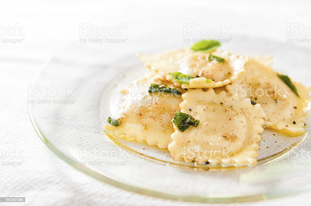 Cheese Ravioli in Brown Butter Sage Sauce royalty-free stock photo