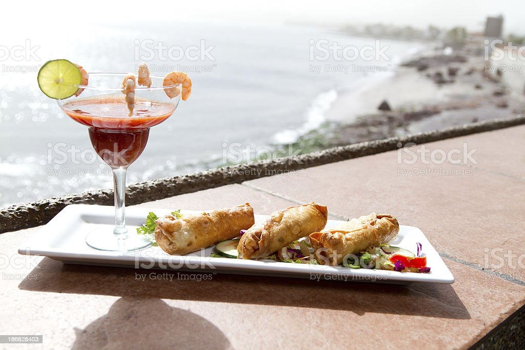 Cheese rolls and shrimp cocktail royalty-free stock photo