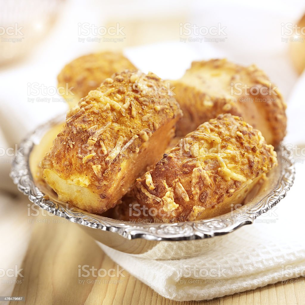 cheese rolls on a silver plate royalty-free stock photo