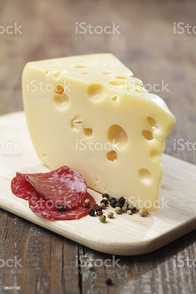 Cheese, salami, and pepper royalty-free stock photo
