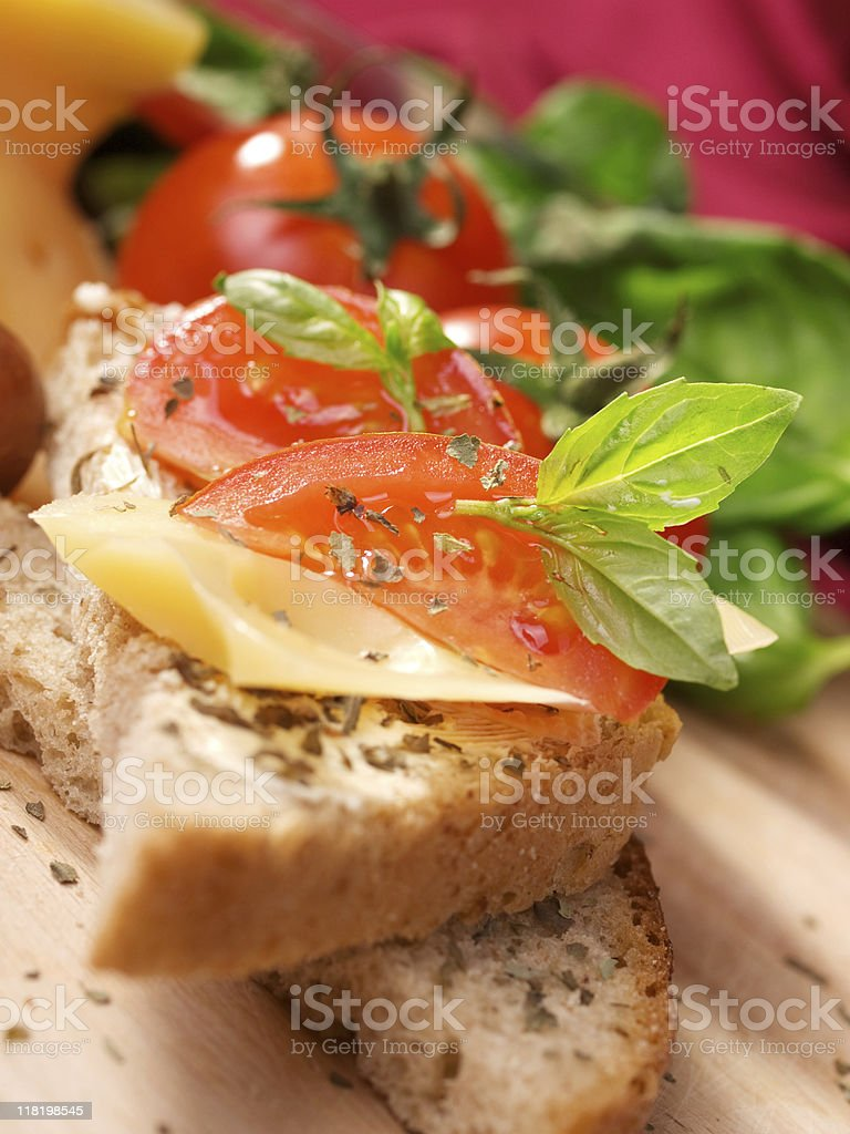 Cheese sandwich with tomato royalty-free stock photo
