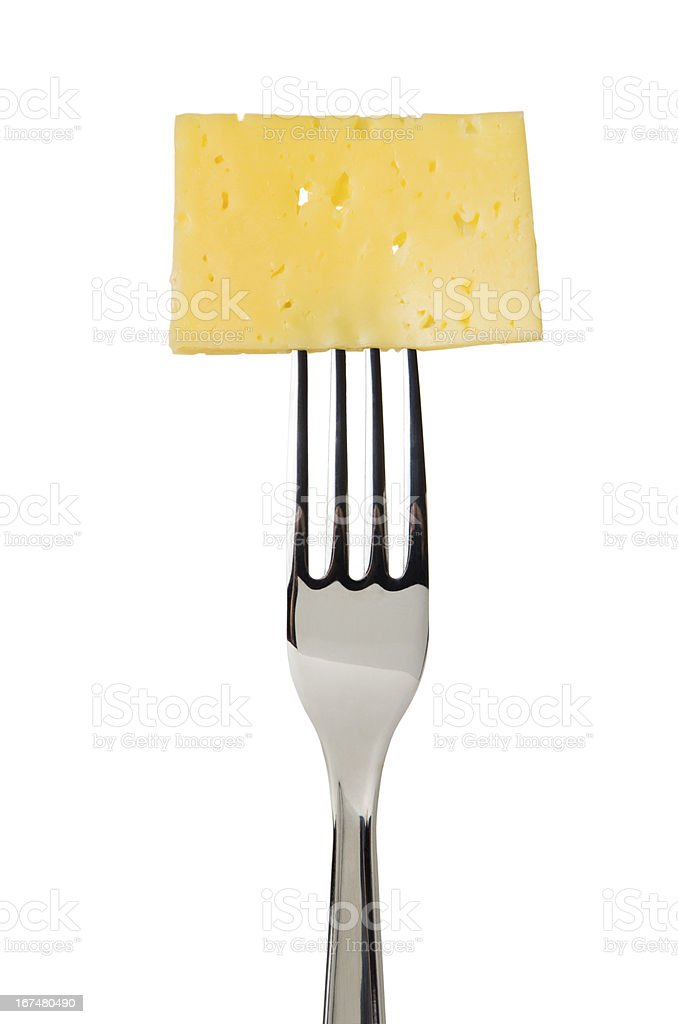 Cheese slice on fork royalty-free stock photo