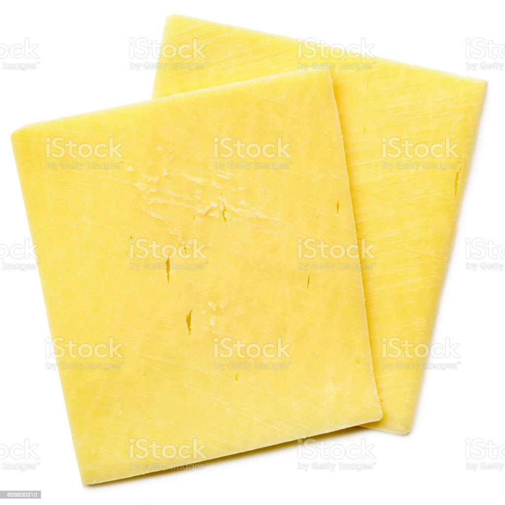 Cheese Slices Isolated on White Top View stock photo