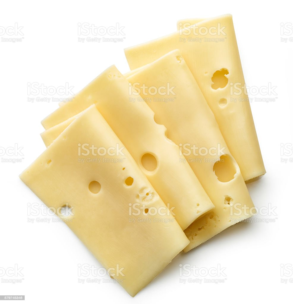 cheese slices on white background stock photo