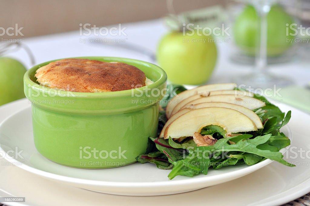 Cheese Souffle with  Apple Walnut Salad stock photo