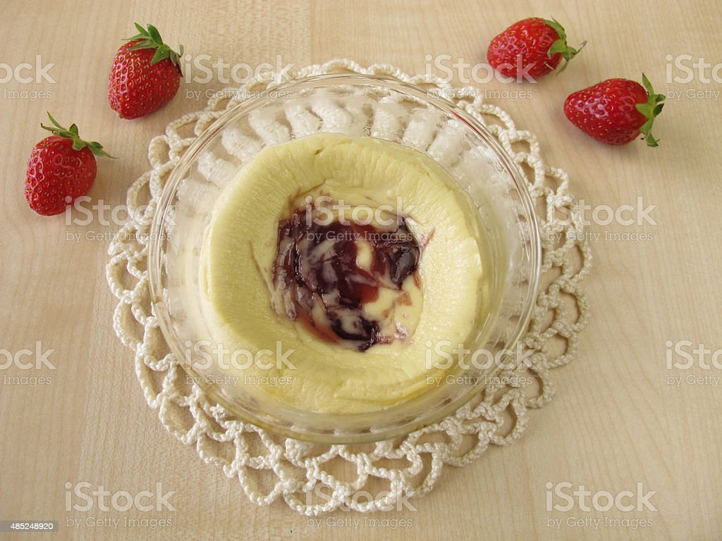 Cheese souffle with strawberries stock photo