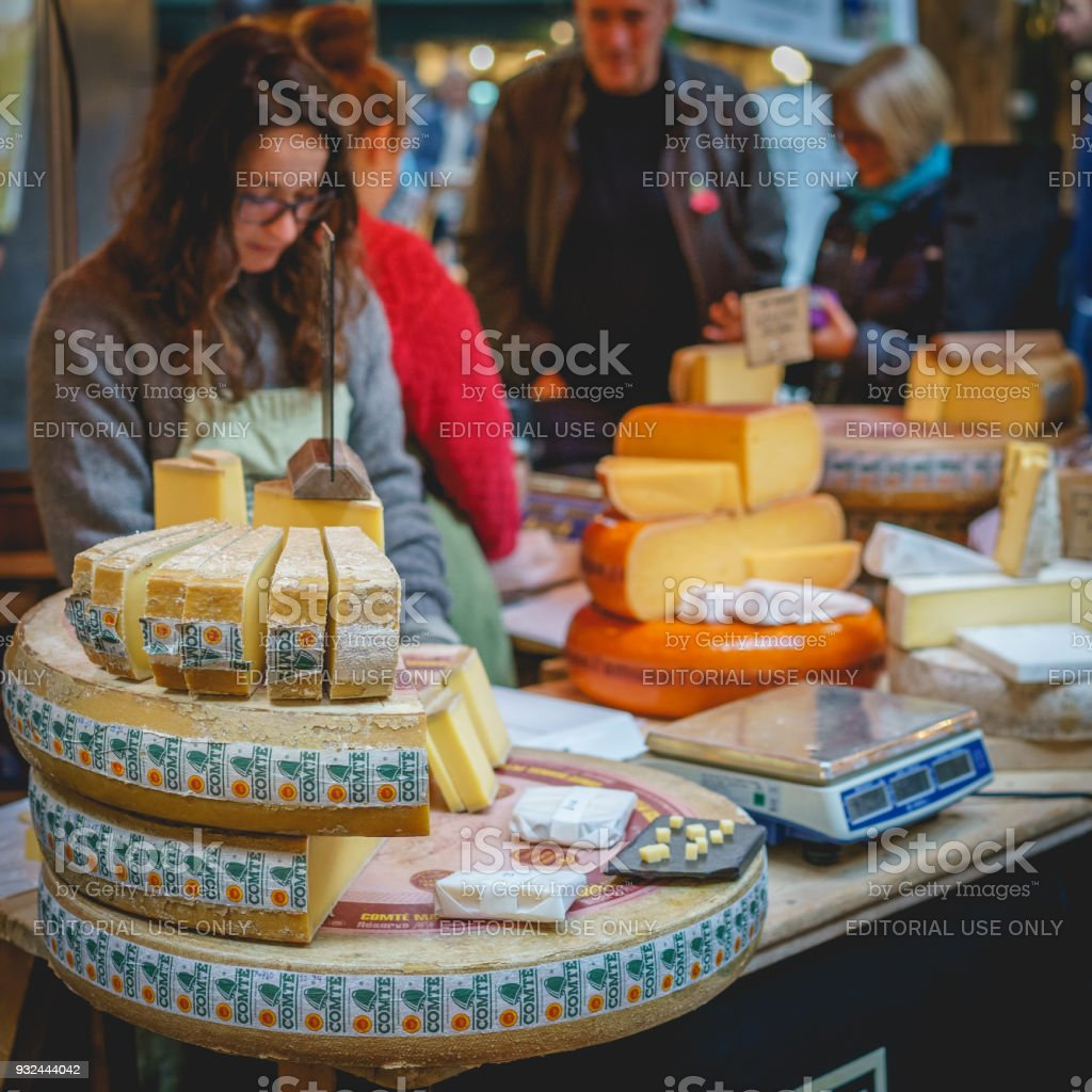 Cheese stall in Borough Market in London (UK). stock photo