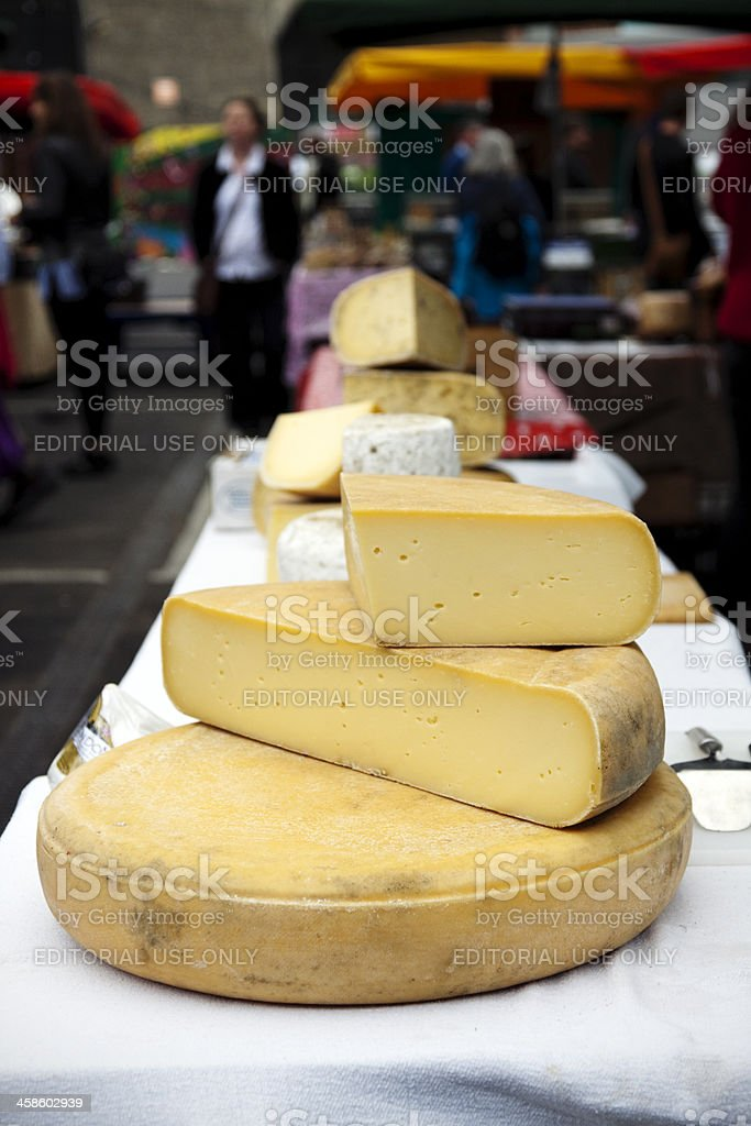 Cheese stall in Borough Market royalty-free stock photo