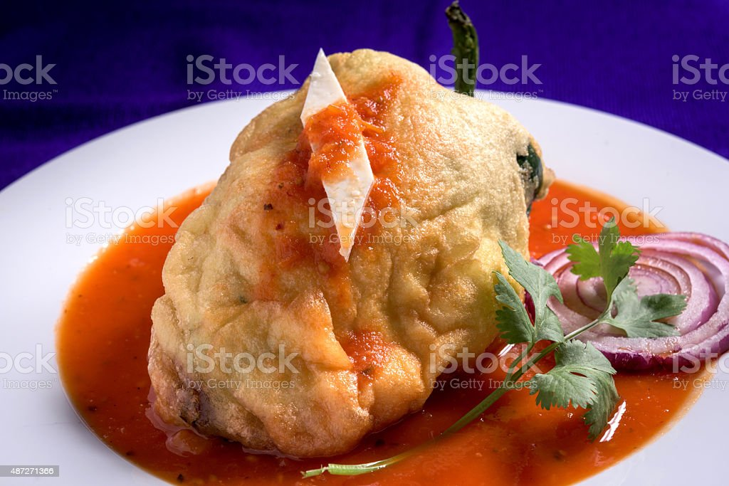 Chile relleno de queso (cheese stuffed Chili) stock photo