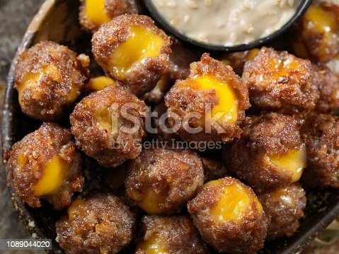 Cheese Stuffed Meatballs with Sesame Dipping Sauce