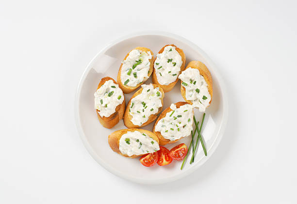 cheese toast canapes stock photo