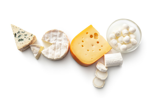 Cheese: Variety of Cheeses Isolated on White Background