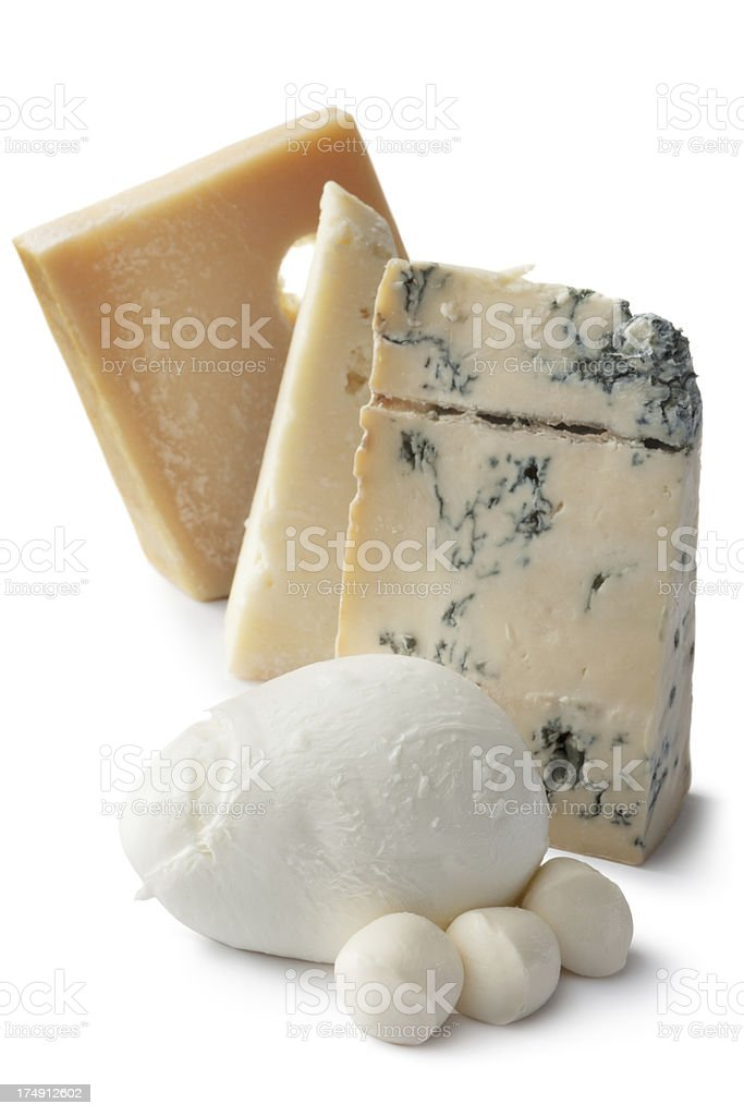 Cheese: Variety of Italian Cheeses Isolated on White Background royalty-free stock photo