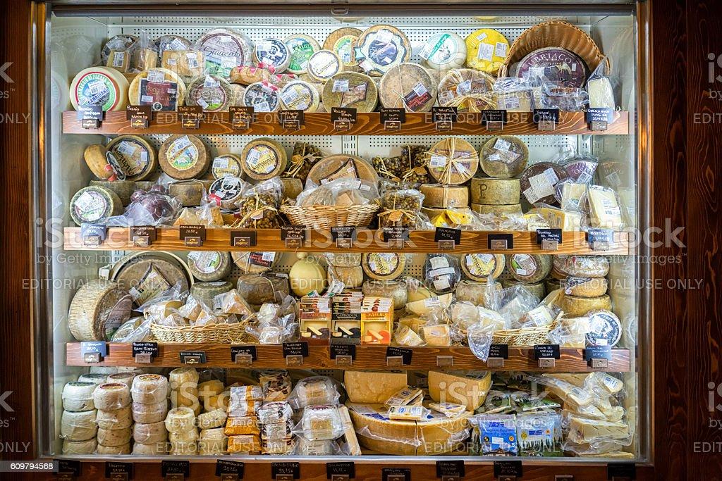 cheese vitrina at their popular COGImar fish shop. stock photo