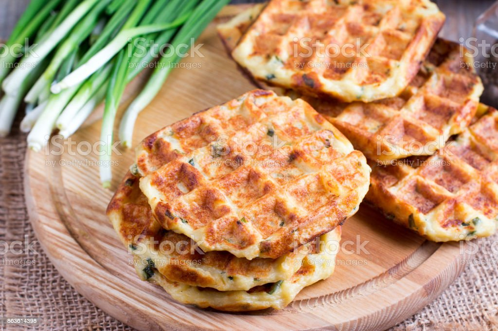 Cheese waffles stock photo