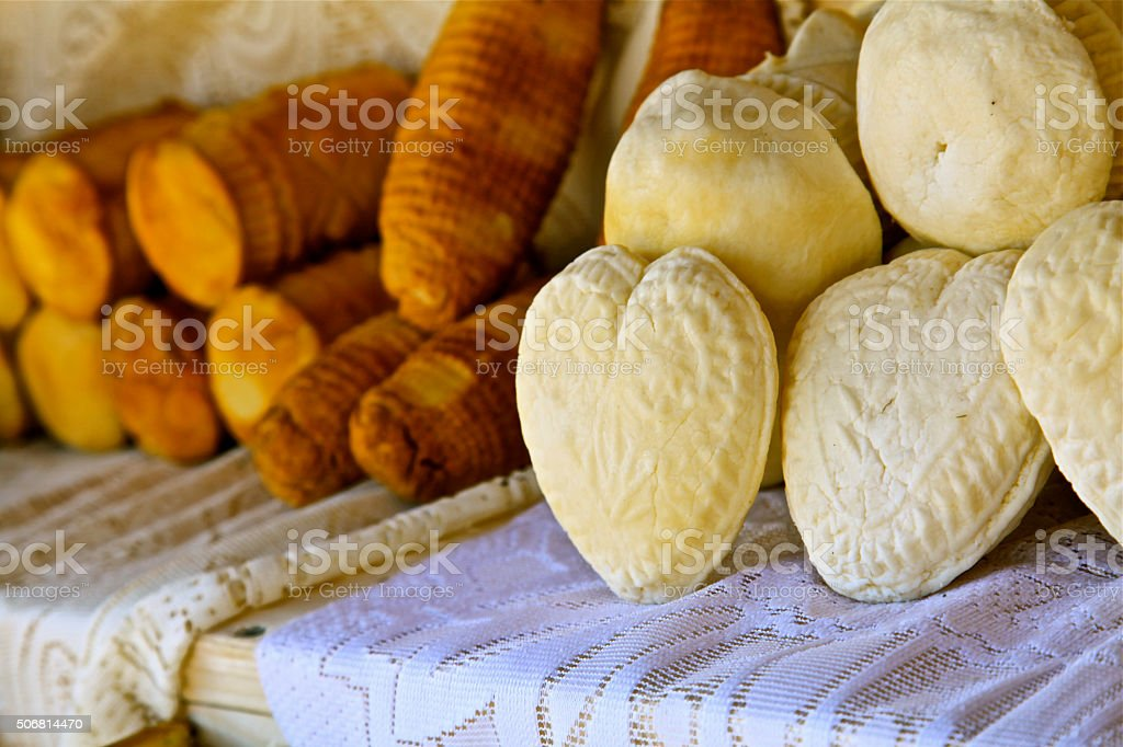 cheese white and smoked heart shape traditional Polish food Oscypek stock photo