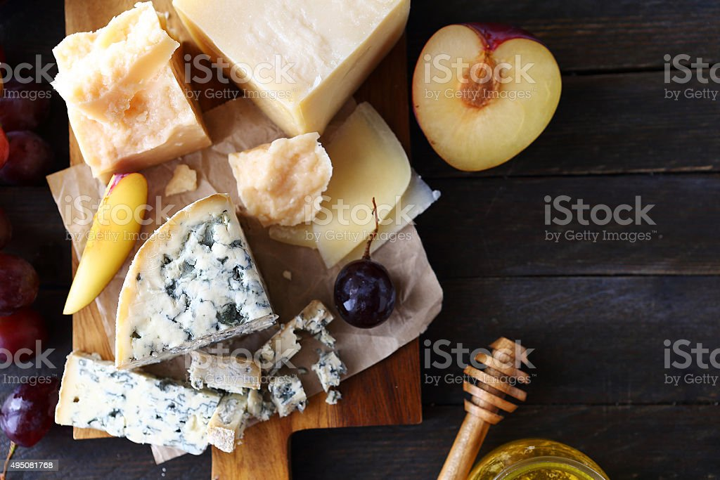 cheese with fruits for appetizer stock photo