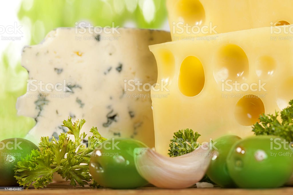 Cheese with  olives royalty-free stock photo