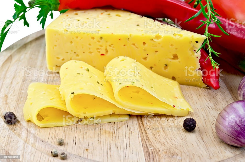 Cheese with pepper and herbs royalty-free stock photo