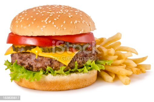 Cheeseburger and french fries, isolated on a white background