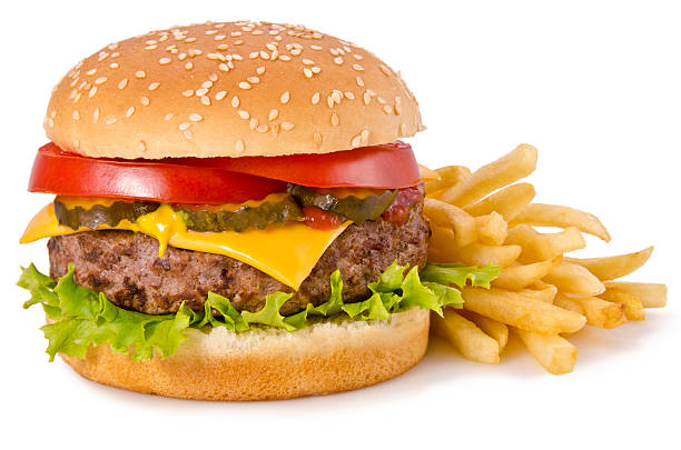 cheeseburger and french fries - cheeseburger 個照片及圖片檔