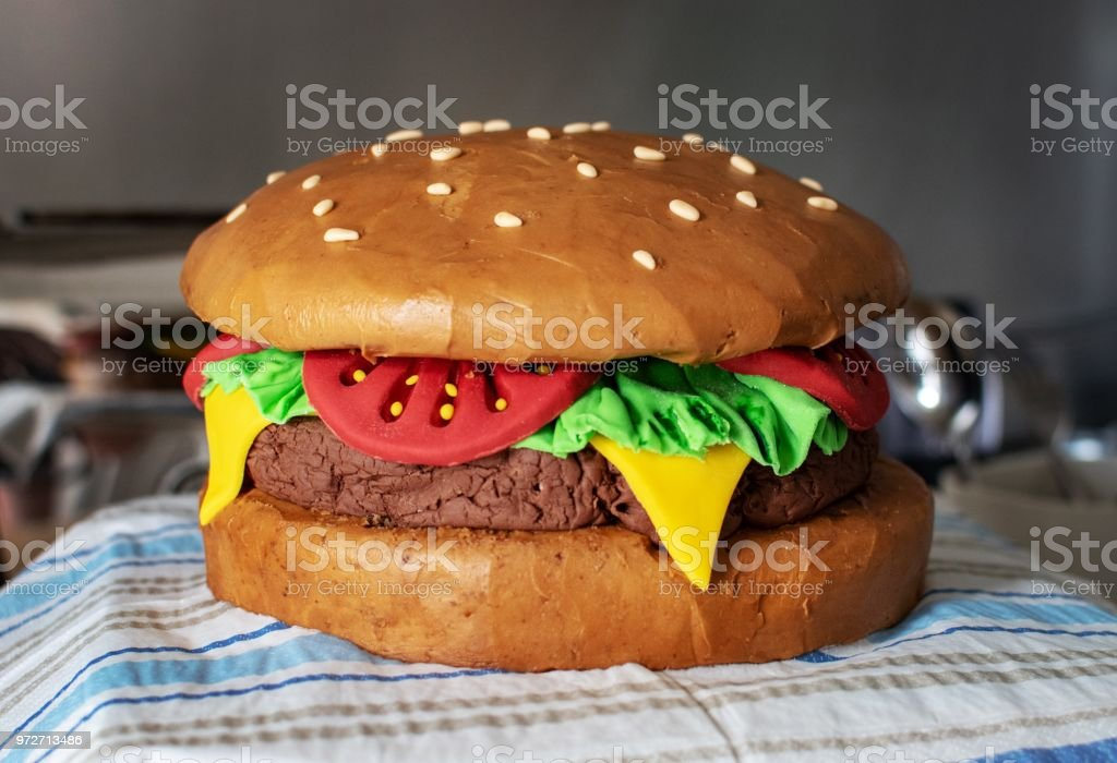 Phenomenal Cheeseburger Birthday Cake Stock Photo Download Image Now Istock Funny Birthday Cards Online Inifofree Goldxyz