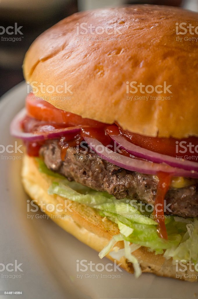 Cheeseburger Fries Pickle stock photo