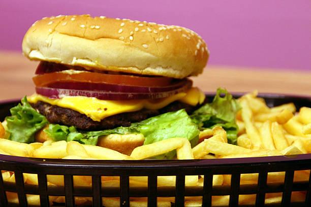 Cheeseburger & Fries stock photo