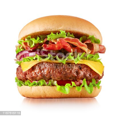 single fresh cheeseburger isolated on white background