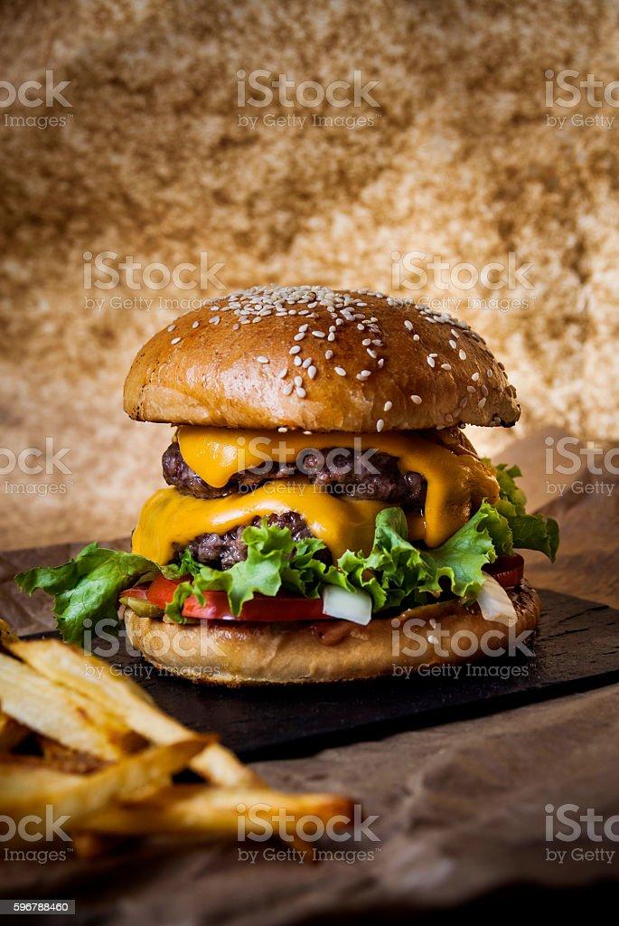 Cheeseburger Lighting Back stock photo