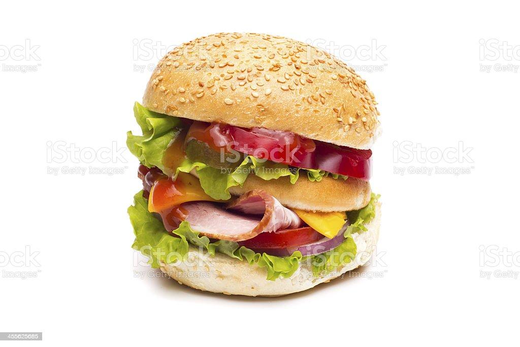 Cheeseburger on a white background stock photo