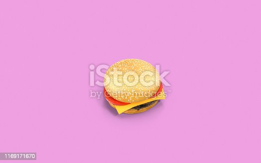 istock Cheeseburger On Pink Background with Copy Space 1169171670