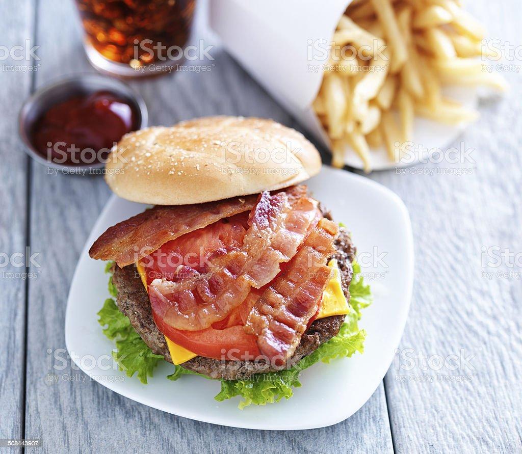 cheeseburger with bacon stock photo