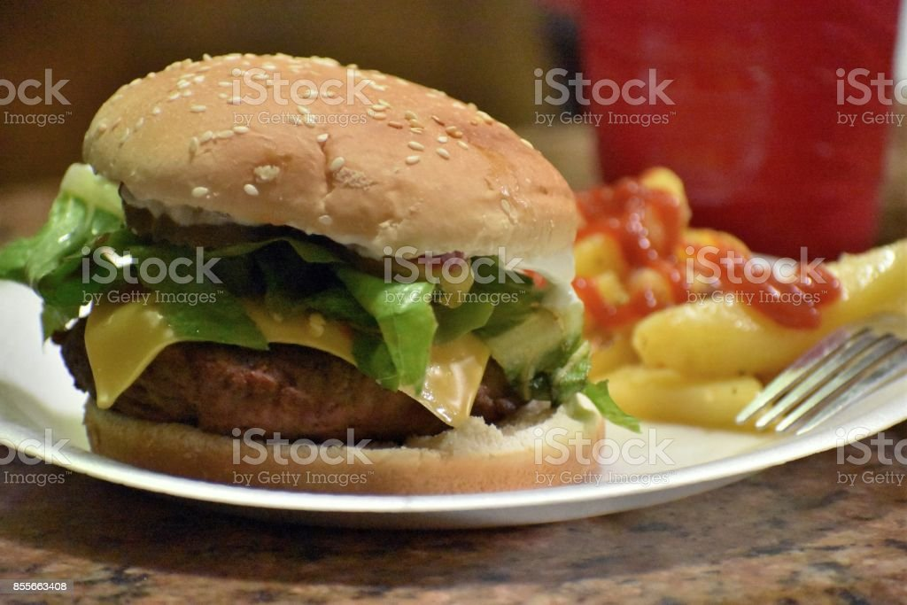 Cheeseburger with fries. stock photo