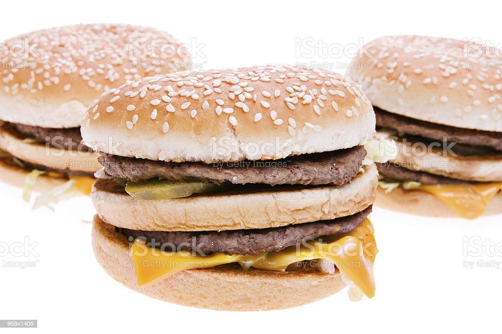 Hamburguesas con queso Aislado en blanco - foto de stock