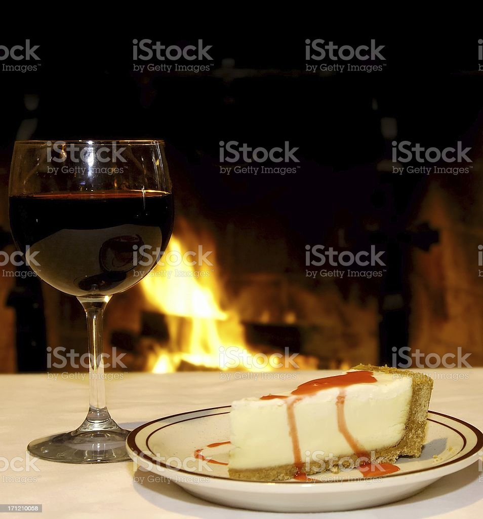 Cheesecake and wine royalty-free stock photo